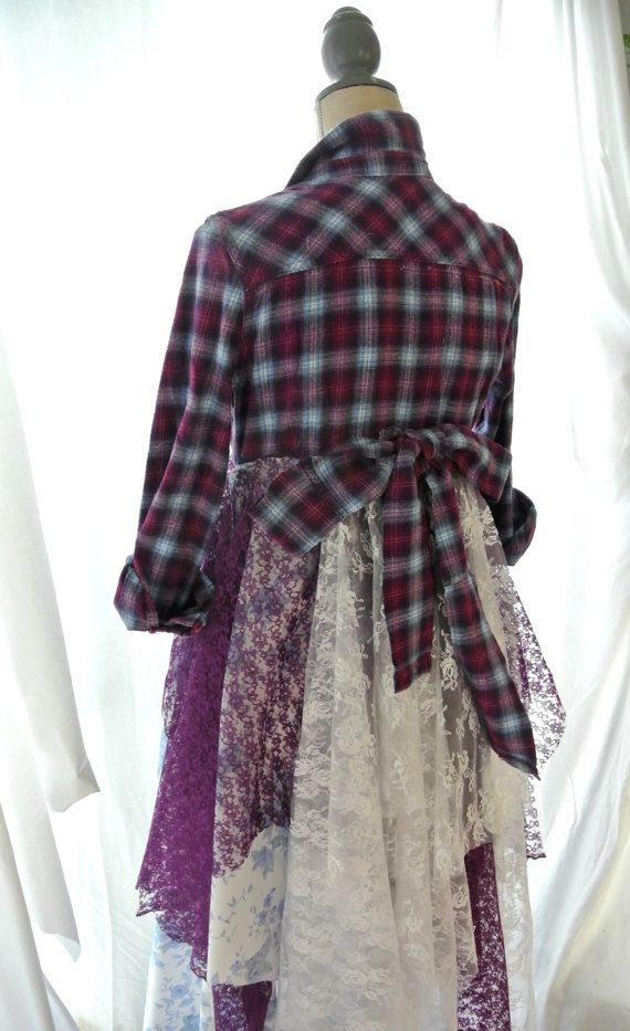 Love the idea of cutting off a shirt/jacket and adding layers of textures to the bottom. Great idea for a DIY halloween costume.  Flannel jacket Gypsy vagabond coat bohemian by TrueRebelClothing