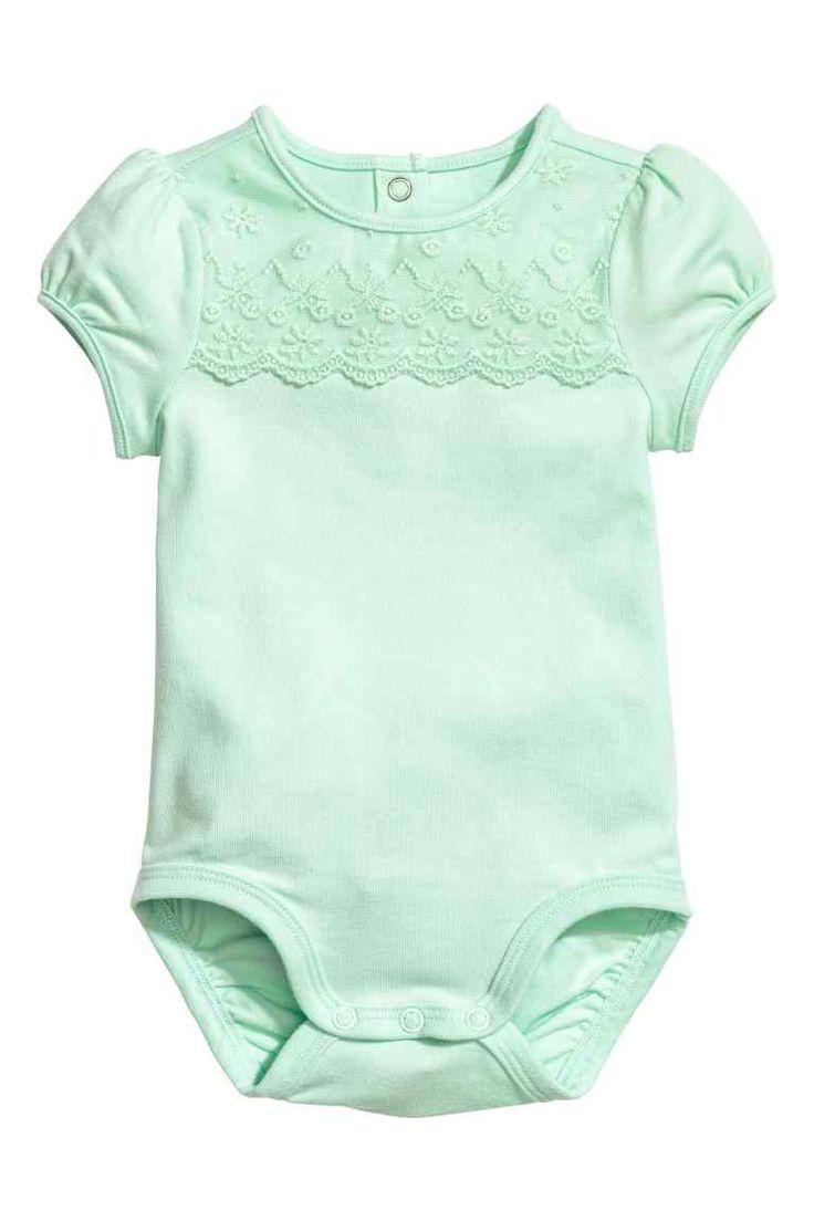 Body cu platcă de dantelă - Verde-deschis - | H&M RO 1