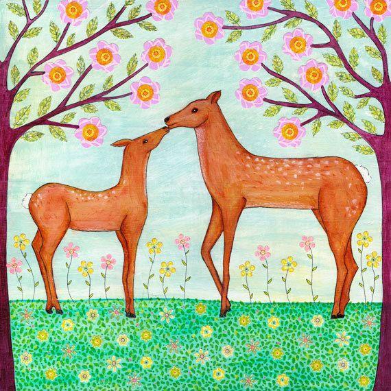 Woodland Deer Art Nursery Decor Print Large 20 x 20 Poster Print Animal Art Child Decor