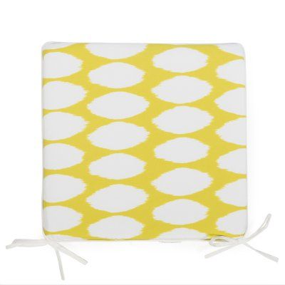 Coral Coast Lakeside 17 x 17 in. Outdoor Furniture Seat Pad Chartreuse Yellow Oval Ikat - TRENDM020-PC130-YELLOWOVAL