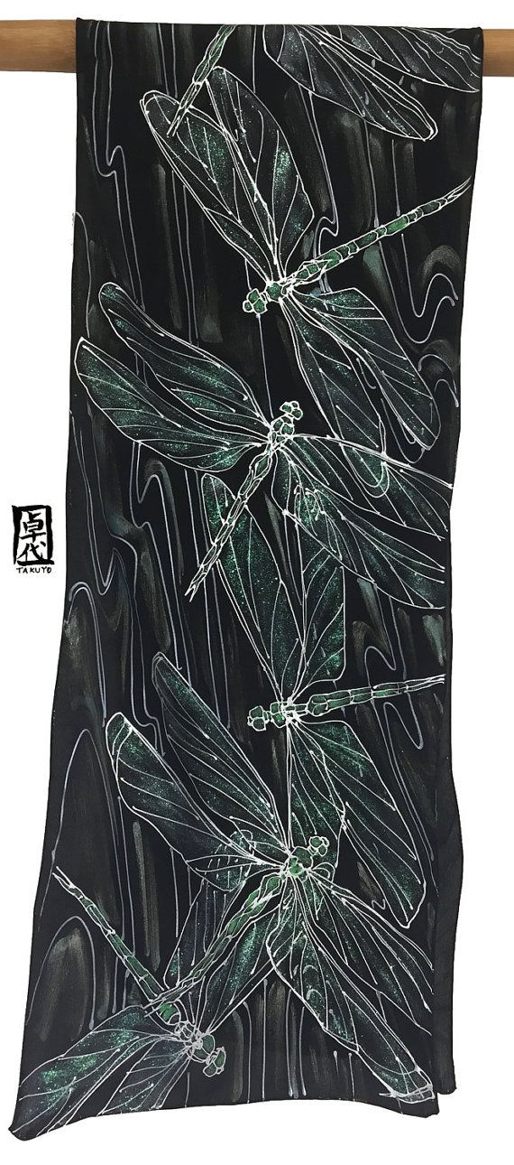 Hand Painted Silk Dragonfly Scarf, ETSY Gift, Green and Silver Dragonfly Silk Scarf, Black Silk Scarf, Silk Scarves Takuyo, 14x72 inches The memories of dragonflies flying around in rice fields are one of my most lovely memories I have about my childhood in Japan. :) The Green and Silver Dragonfly Silk Scarf is a modern design large sized silk scarf. The silver, shimmery green, and blue create sophisticated and crisp feeling to this dragonfly silk scarf. This hand painted silk scarf was…