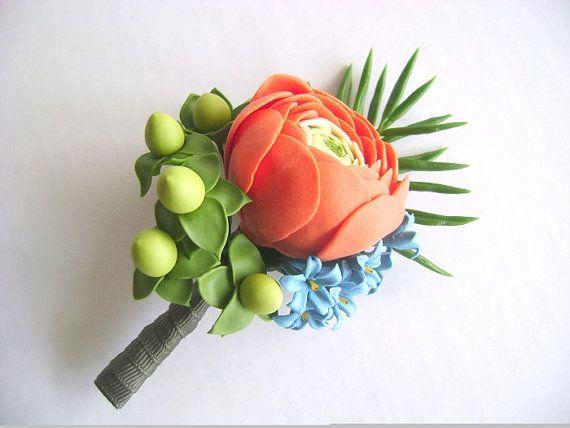 Orange Ranunculus Wedding Boutonniere. Wedding by parsi on Etsy