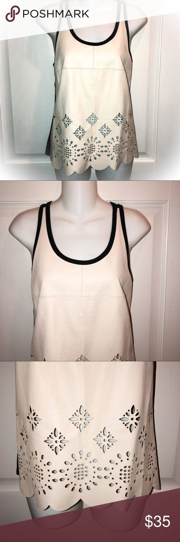 """🌸Fifteen Twenty Beige Cut Out Lamb's Leather Tank 🌸Beautiful and soft beige lamb's leather tank top; camisole. Featuring scalloped hem and black knit back. 🌸 🌸Size XS 🌸Bust 32"""" 🌸Length 22.5"""" shoulder seam to hem Fifteen Twenty Tops Tank Tops"""