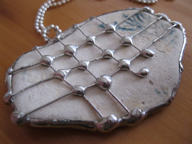 Old Tile Pendant Decorated With Copper Wire And Soldered