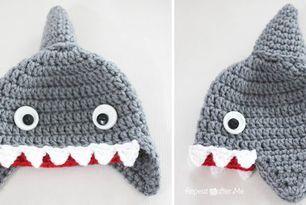 Crochet shark, Shark hat and Hat patterns on Pinterest