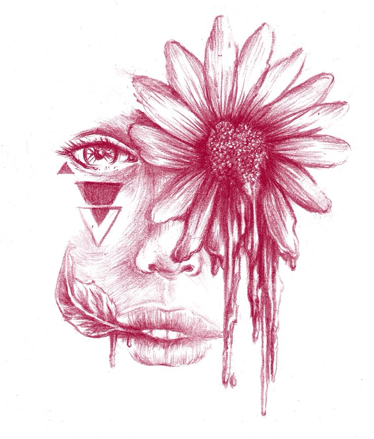 Drawing of a face with natural a natural flower and leaf