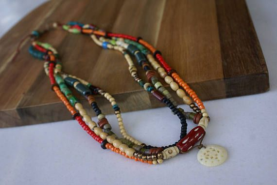 Multi strand Boho Necklace Tribal African Multicolor Bead