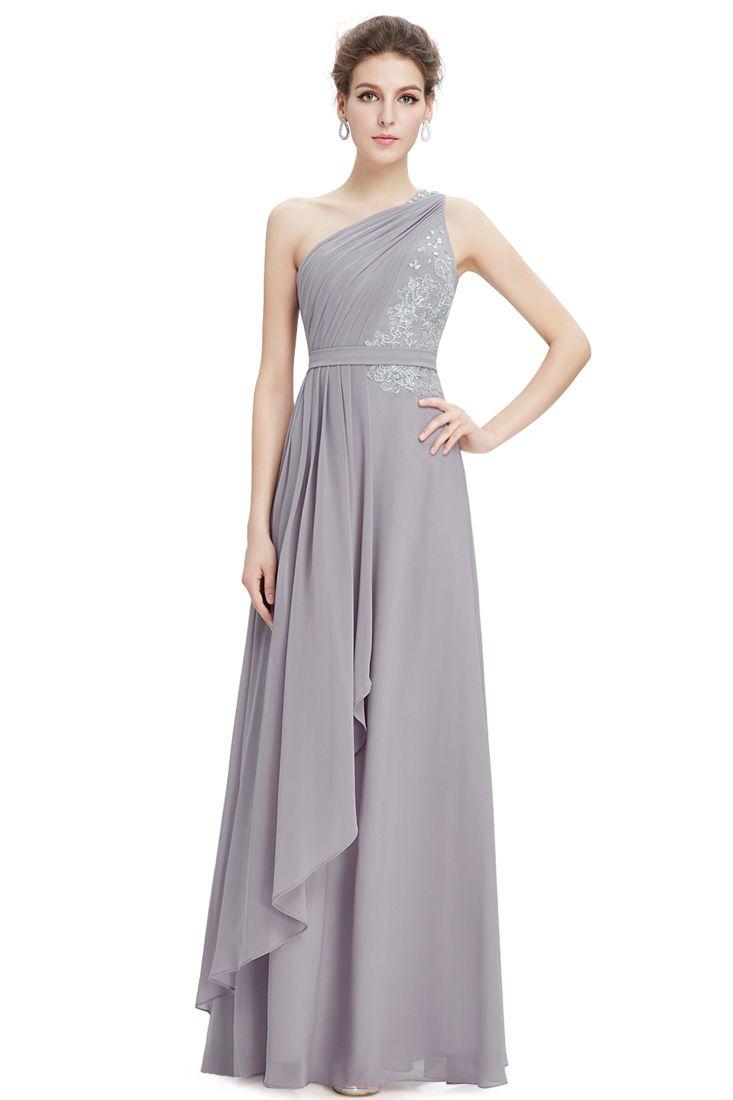Grey Chiffon Embroidered Layered Maxi Dress - Fashionhub - Formal Dresses.