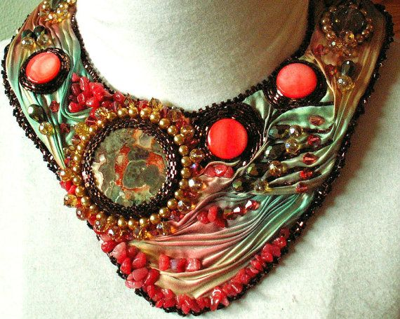 Silk Road Sunset, Gorgeous Shibori Ribbon Beaded Necklace, Textile Necklace, Statement Necklace on Etsy, $332.19 AUD