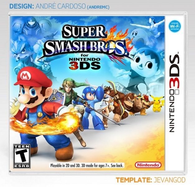 Super Smash Bros for Nintendo 3DS Nintendo 3DS Box Art Cover by andremc >> i like this 3DS cover more than the one by Chaosphere. even though it is very good.