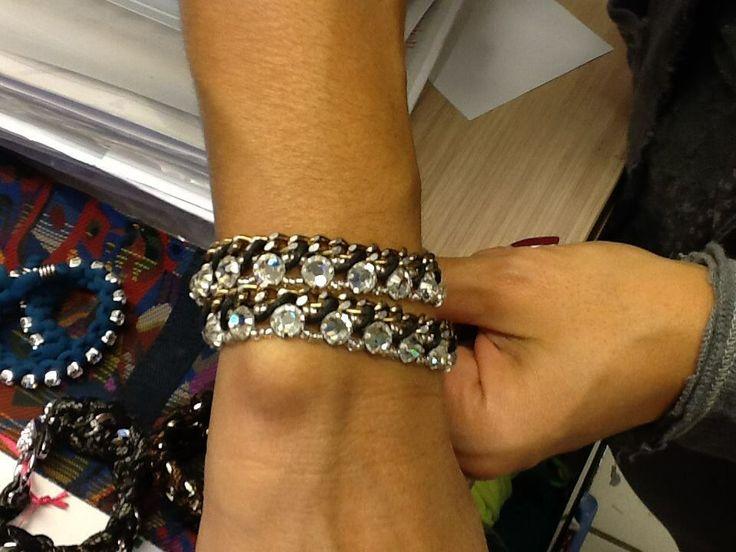 Braccialetto con fila di strass doppio giro (Bracelet with row of rhinestones twofold)