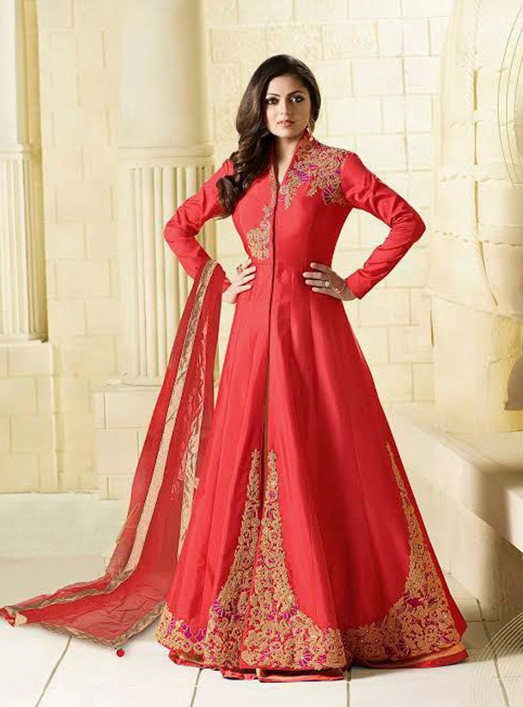 Buy Drashti Dhami Red Taffeta Silk Long Anarkali Suit 82804 online at lowest price from vast collection at m.indianclothstore.c.