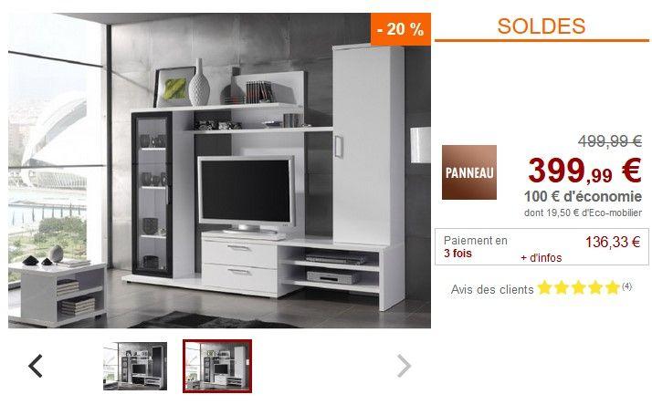 mur tv warren pas cher soldes meuble