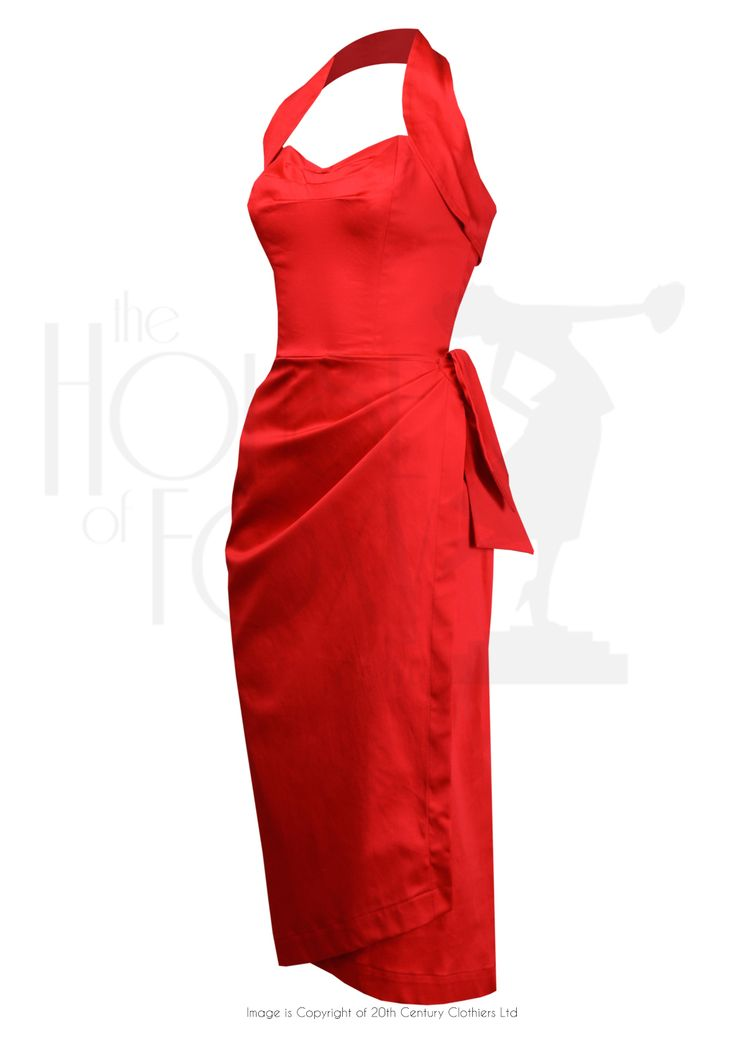 1950s Style Femme Fatale Sarong Dress Set Red