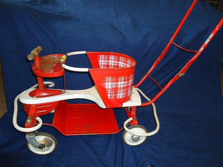 Vintage Metal Amp Wood Oak Hill Kiddie Walker Baby Child S