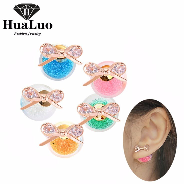 HUALUO Novelty Cute Stud Earrings For Girls Glass Hourglass Ball Rose Gold Small Bow Zircon Crystal Double Sided Earring EW2873