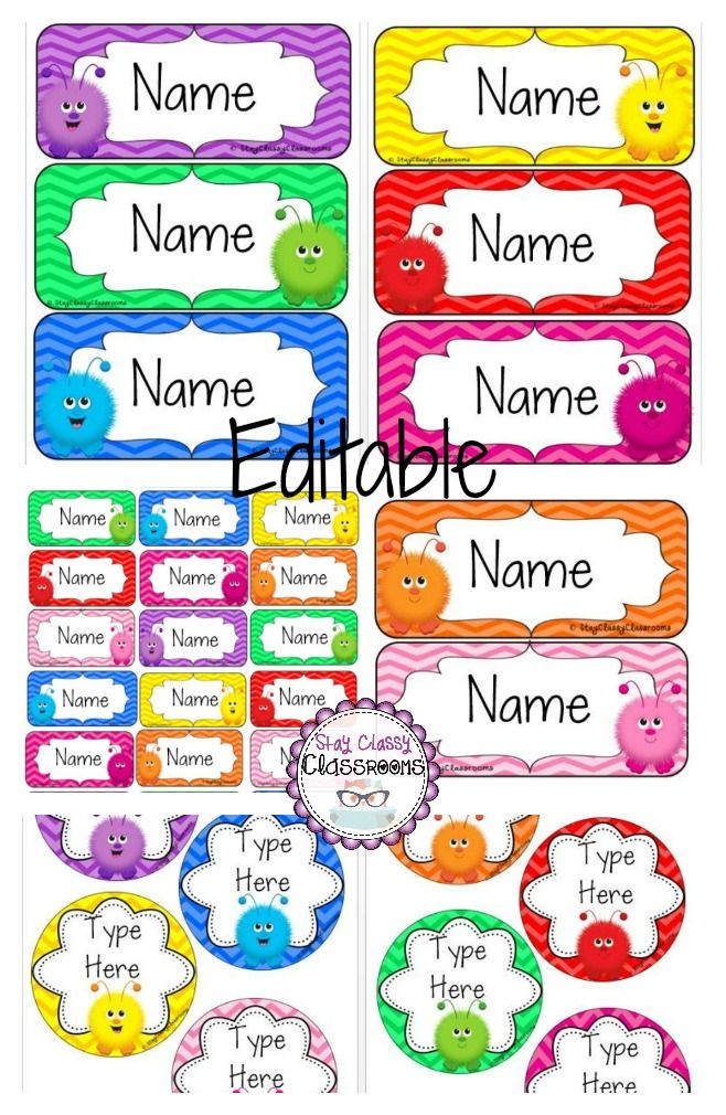 Editable name tags fuzzy monsters
