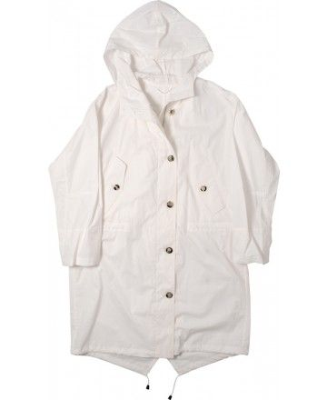 MARGARET HOWELL - WOMENS BIG HOODED PARKA - WHITE COTTON