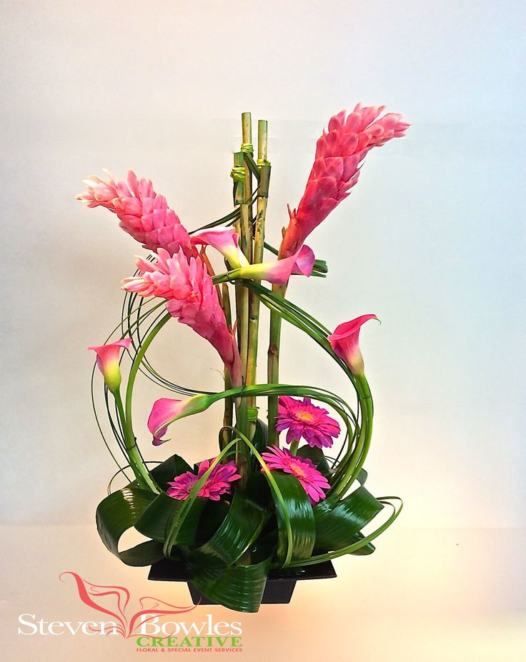 Modern tropical floral arrangement of Ginger and Calla Lilies. Designed by Steven Bowles Creative, Floral and Event Designer, Naples, FL www.stevenbowlescreative.com