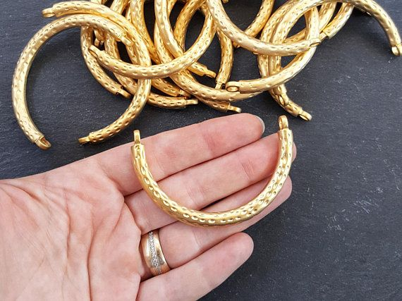 Jewelry Supplies Gold Bar Findings Matte 22K Gold Plated Bar Bracelet Connector 2 pc Curved Bar Connector