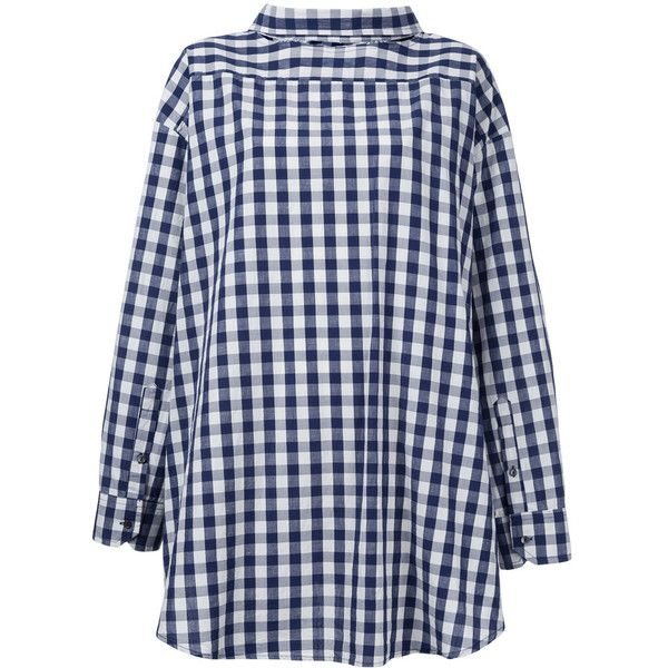 Erika Cavallini checked reverse shirt ($518) ❤ liked on Polyvore featuring tops, blue, checked shirt, checkered shirt, check pattern shirt, blue checkered shirt and reversible shirts