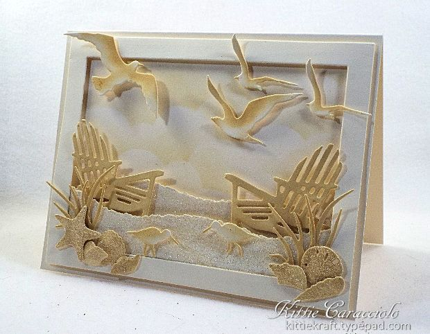 Monochromatic Beach Scene by kittie747 - Cards and Paper Crafts at Splitcoaststampers