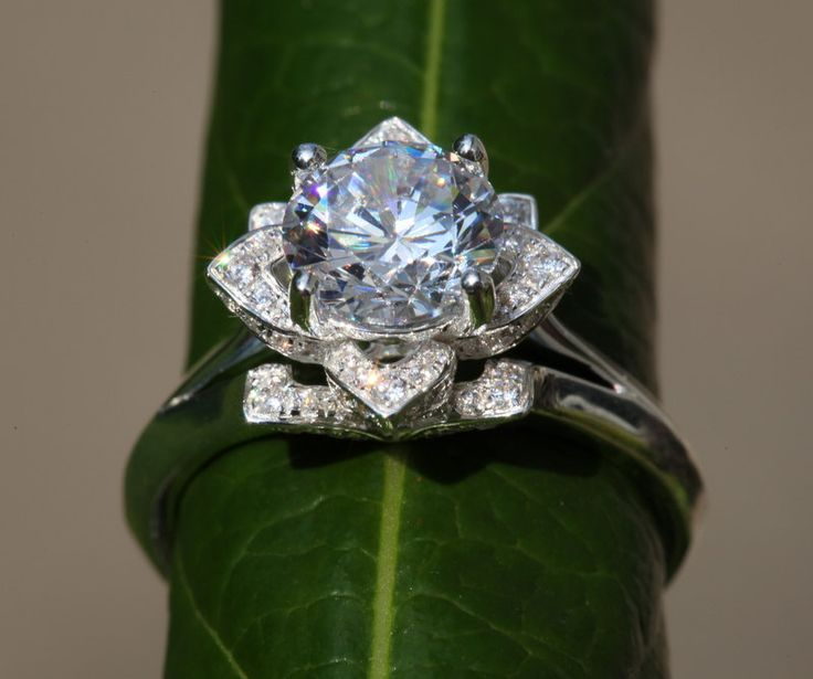 Lotus Flower Engagement Ring Etsy