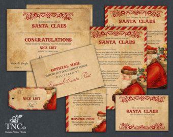 Printable santa letter. US letter size, christmas reindeer food, Printable christmas stationery, naughty and nice certificate, header card