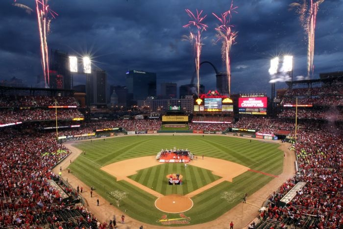 Fireworks lit Busch Stadium following a Cardinals World Series victory celebration Sunday, October 30, 2011, in St. Louis, Mo.