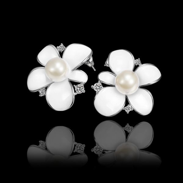 GE584 Wholesale Rose/White Gold Plated White paint Flower Pearl Stud Earrings valentine's day Gift