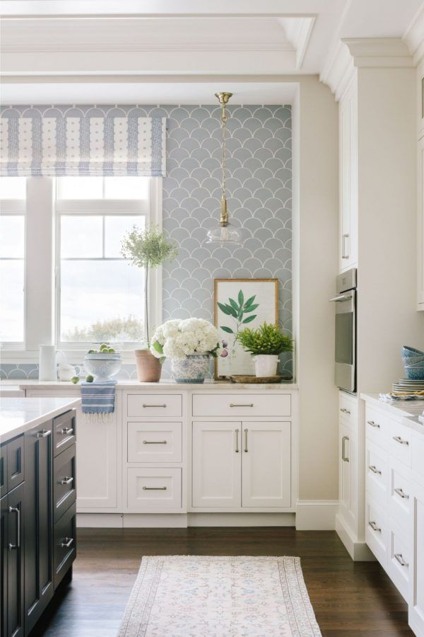 I Love The Dreamy Look Of This Kitchen With Its Unique Light Gray Tile Backsplash From Bria Hammel Interior In 2020 Kitchen Style Kitchen Inspirations Pretty Kitchen