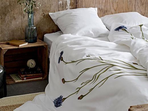 Södahl Kornblomst Flora Danica motiv Sengetøj 140 x 220 cm blå