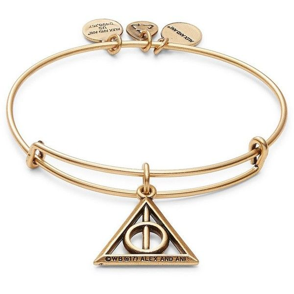 Alex and Ani Harry Potter Deathly Hallows Charm Bracelet ($28) ❤ liked on Polyvore featuring jewelry, bracelets, gold, alex and ani charms, charm bracelet jewelry, alex and ani bangles, charm jewelry and pendant jewelry