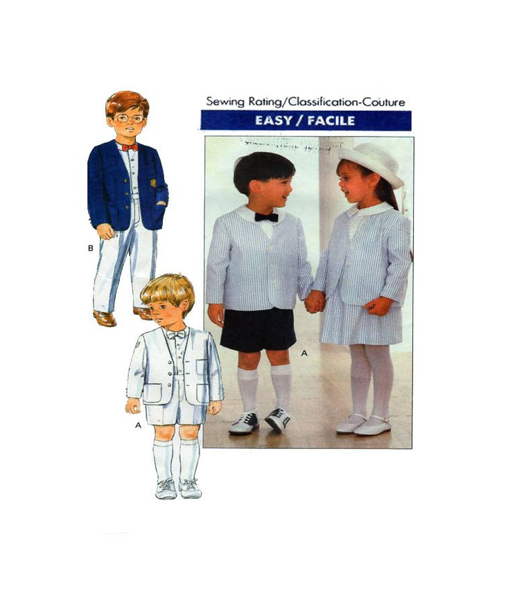 Toddler Suit Butterick 4580 Special Occasion Girl/Boy Button Front Jacket/Blazer, Tapered Pants or Shorts & Gathered Skirt Size 1-2-3 by FindCraftyPatterns on Etsy