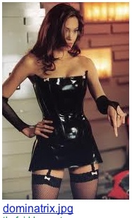 Dom in latex and fishnet gloves