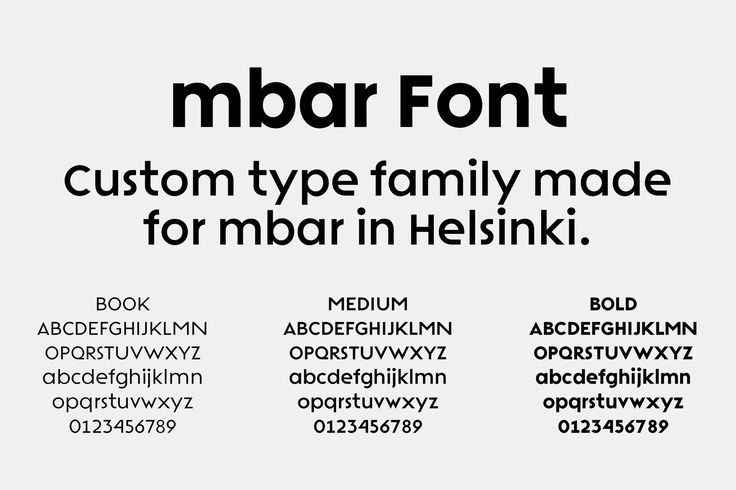 Bespoke type family for mbar club by Erik Bertell