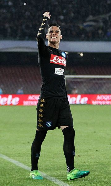 Jose Callejon of SSC Napoli celebrates after scoring goal 3-0 during the Serie A match between SSC Napoli and Udinese Calcio at Stadio San Paolo on April 15, 2017 in Naples, Italy.