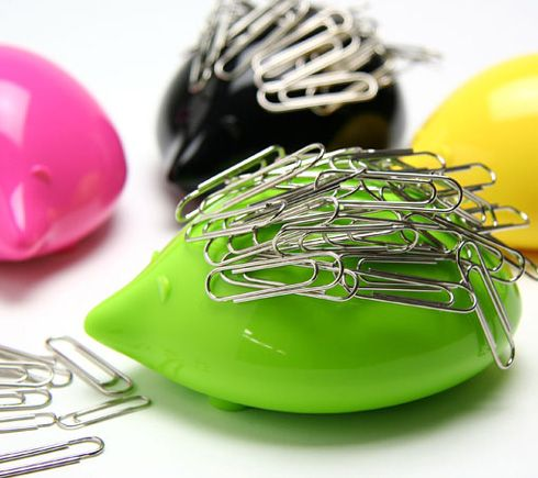 magnetic porcupines as paper clip collector.
