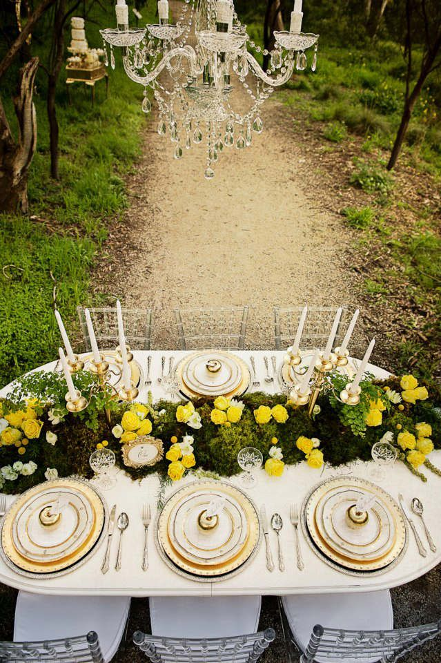 Yellow Gold And Green Tablescape