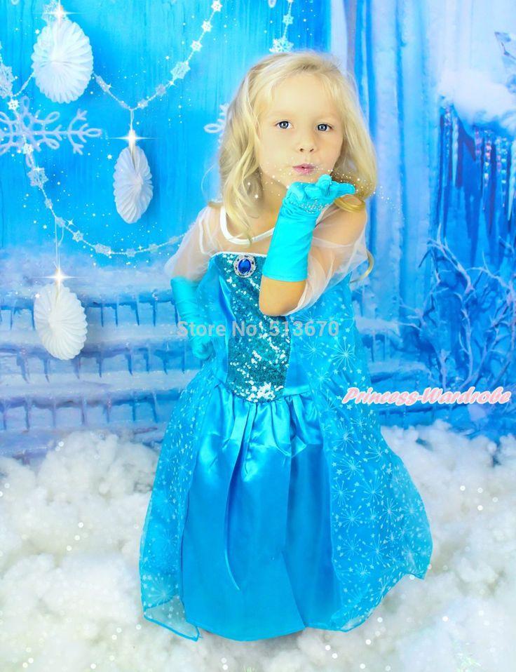 "Seek cheaper goods - Buy ""Sheer Sleeve Princess Elsa Blue Girl Costume Dress & Snowflake Gloves 2-8Y C003-1"" for only 30.98 USD."