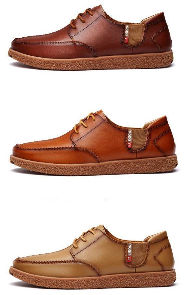 Men British Style Elastic Panels Retro Lace Up Casual Oxford Shoes #oxfordshoesoutfit