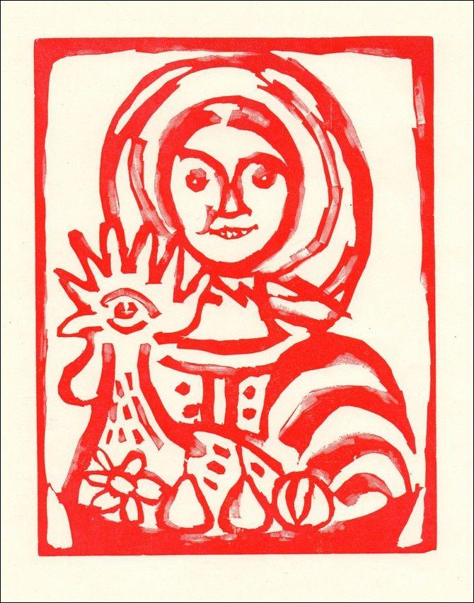 Karel Svolinský - Dívka s kohoutem (dřevoryt)