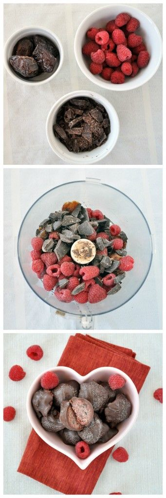 Try these Dark Chocolate Raspberry Truffles for your Valentine. Only 6 simple ingredients.  Vegan, gluten free and paleo.