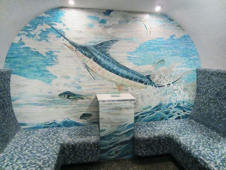 Мозаика в интерьере бани