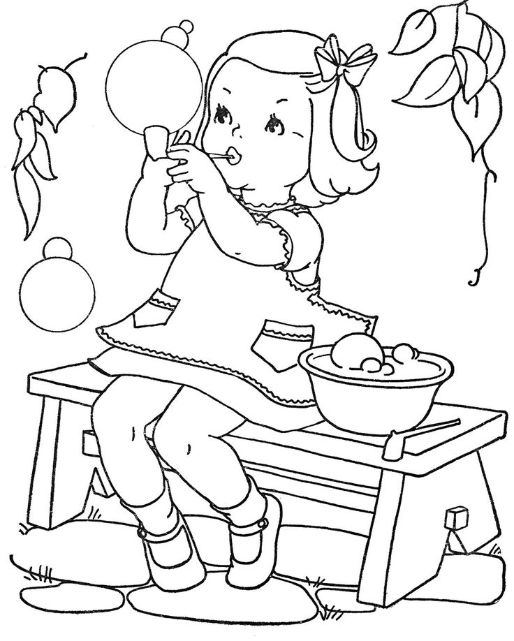 20 Vintage Coloring Book Images - Free to print!  Maybe use for homemade paint with water pages.
