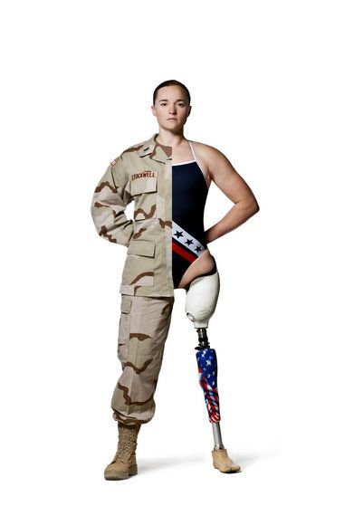 "'Melissa Stockwell:  Was the first female American soldier in history to lose a limb in active combat and was the first Iraq War veteran to compete in the Paralympic Games as a swimmer in 2008 • Was one of four athletes featured in a documentary called ""Warrior Champions"" • Completed her residency in prosthetics where she fit other amputees with prosthetic devices.'"