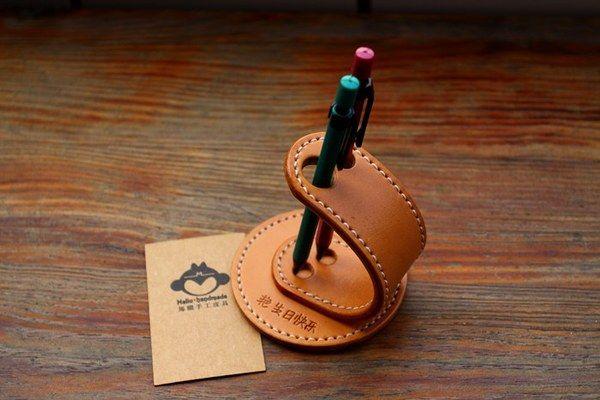 马骝手工 纯牛皮塑性笔插 刻可个性名字 办公室商务礼品 包邮顺丰