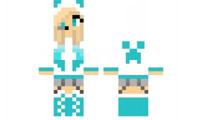 minecraft skin Teal-Creeper-Girl