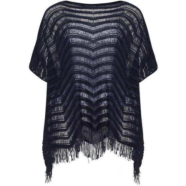 Manon Baptiste Dark-Blue Plus Size Open weave knit fringed jumper (5,465 INR) ❤ liked on Polyvore featuring tops, sweaters, plus size, plus size poncho sweater, fringe poncho sweater, knit poncho sweater, fringe ponchos and plus size knit sweater