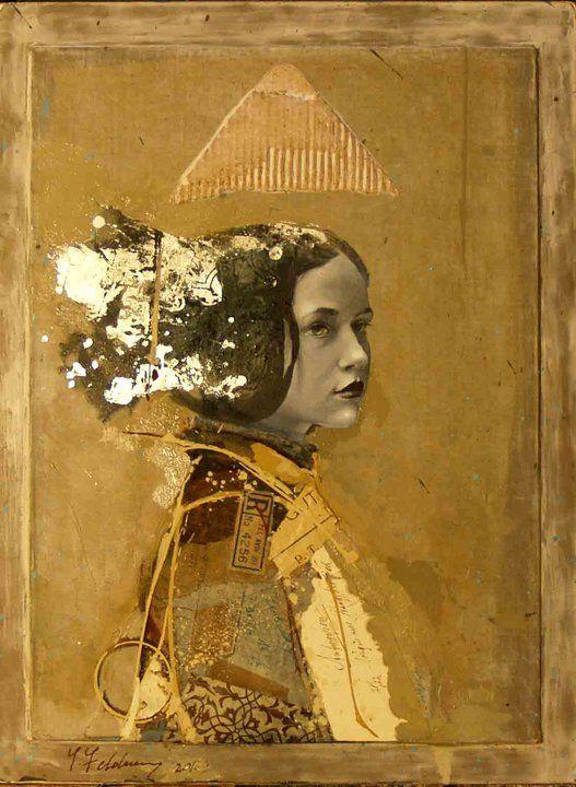 """Siver"", mixed media collage on wood - Artwork by Yakov Feldman,"